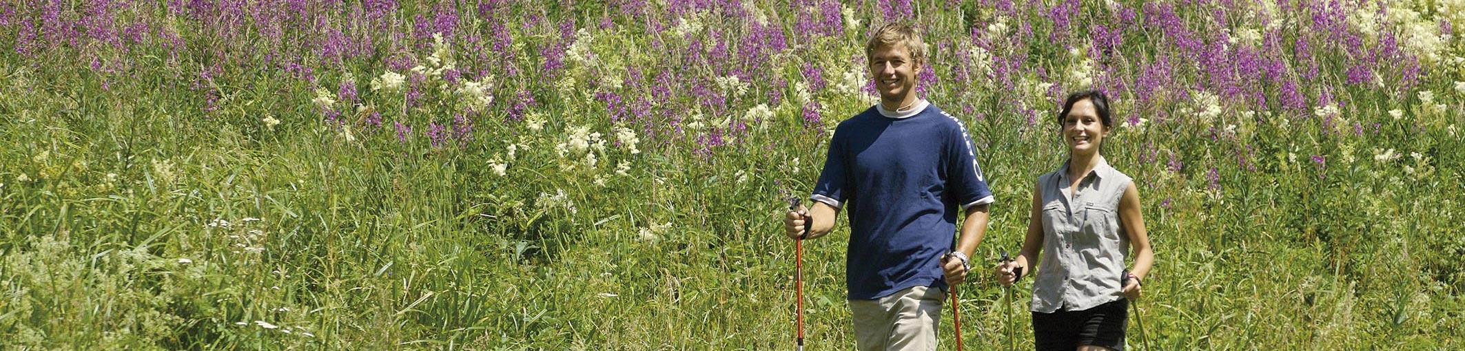 Nordic walking tra i prati in fiore